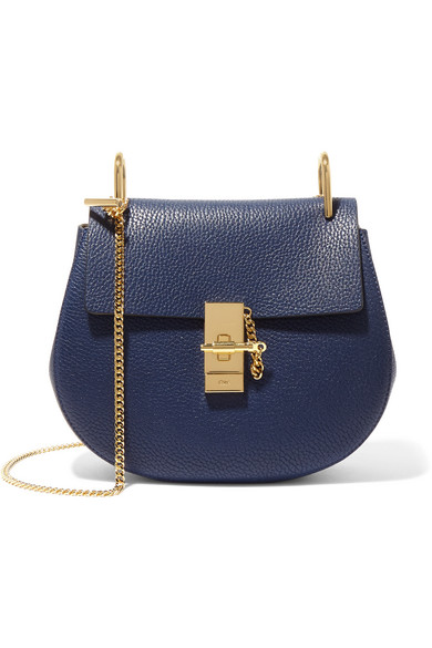 Chloé - Drew Small Textured-leather Shoulder Bag - Navy