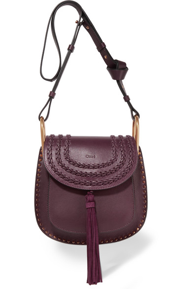 Chloé - Hudson Small Whipstitched Leather Shoulder Bag - Grape