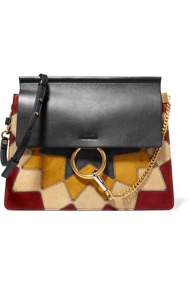 Chloé. Sac porté épaule en patchwork de daim et en cuir Faye Wonder Woman  Medium 711f30ff06f