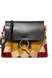 Faye Wonder Woman medium patchwork suede and leather shoulder bag
