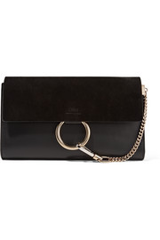 Faye leather and suede clutch