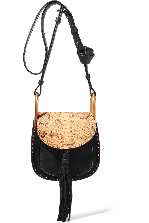 Chloé Hudson mini suede, leather and python shoulder bag