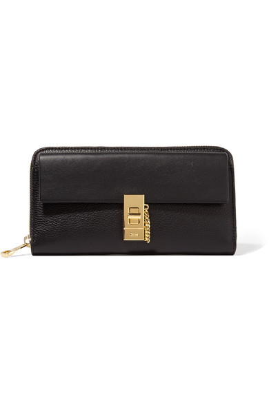 Chloé - Drew Textured-leather Wallet - Black