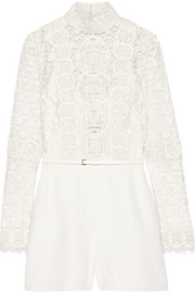 Embellished cotton-blend guipure lace and crepe playsuit