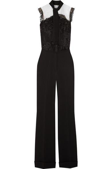 Elie Saab - Pussy-bow Lace-paneled Crepe Jumpsuit - Black