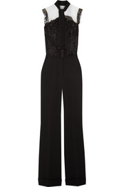 Pussy-bow lace-paneled crepe jumpsuit