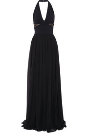 Lace-trimmed stretch-knit and chiffon gown