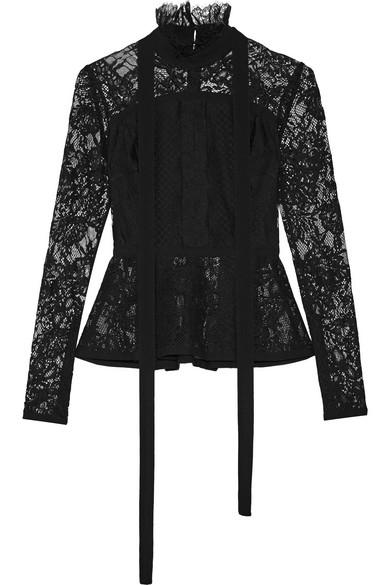 Elie Saab - Pussy-bow Pleated Lace Peplum Top - Black