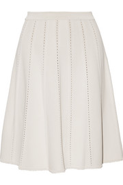 Pointelle-trimmed jersey mini skirt
