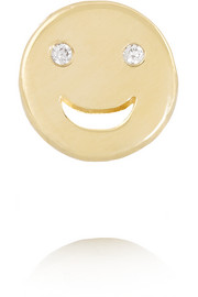 Happy 14-karat gold diamond earring