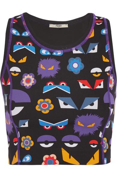 fendi female 248826 fendi meshtrimmed printed stretchjersey sports bra purple