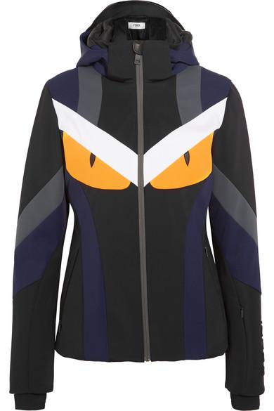 Fendi - Leather-trimmed Padded Shell Ski Jacket - Black