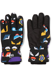 Printed shell and canvas ski gloves