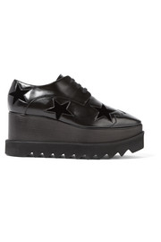 Stella McCartney Elyse velvet-trimmed faux leather platform brogues