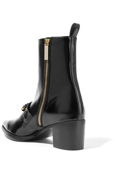 42ebeca9835 Chain-embellished faux patent-leather ankle boots