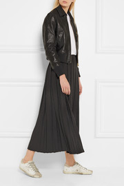 Pleated wool-blend midi skirt