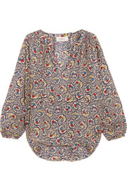 Carousel floral-print silk-crepe blouse