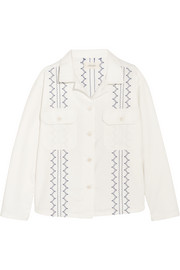 Oversized embroidered cotton-blend jacket