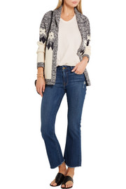Bonfire intarsia cotton-blend cardigan
