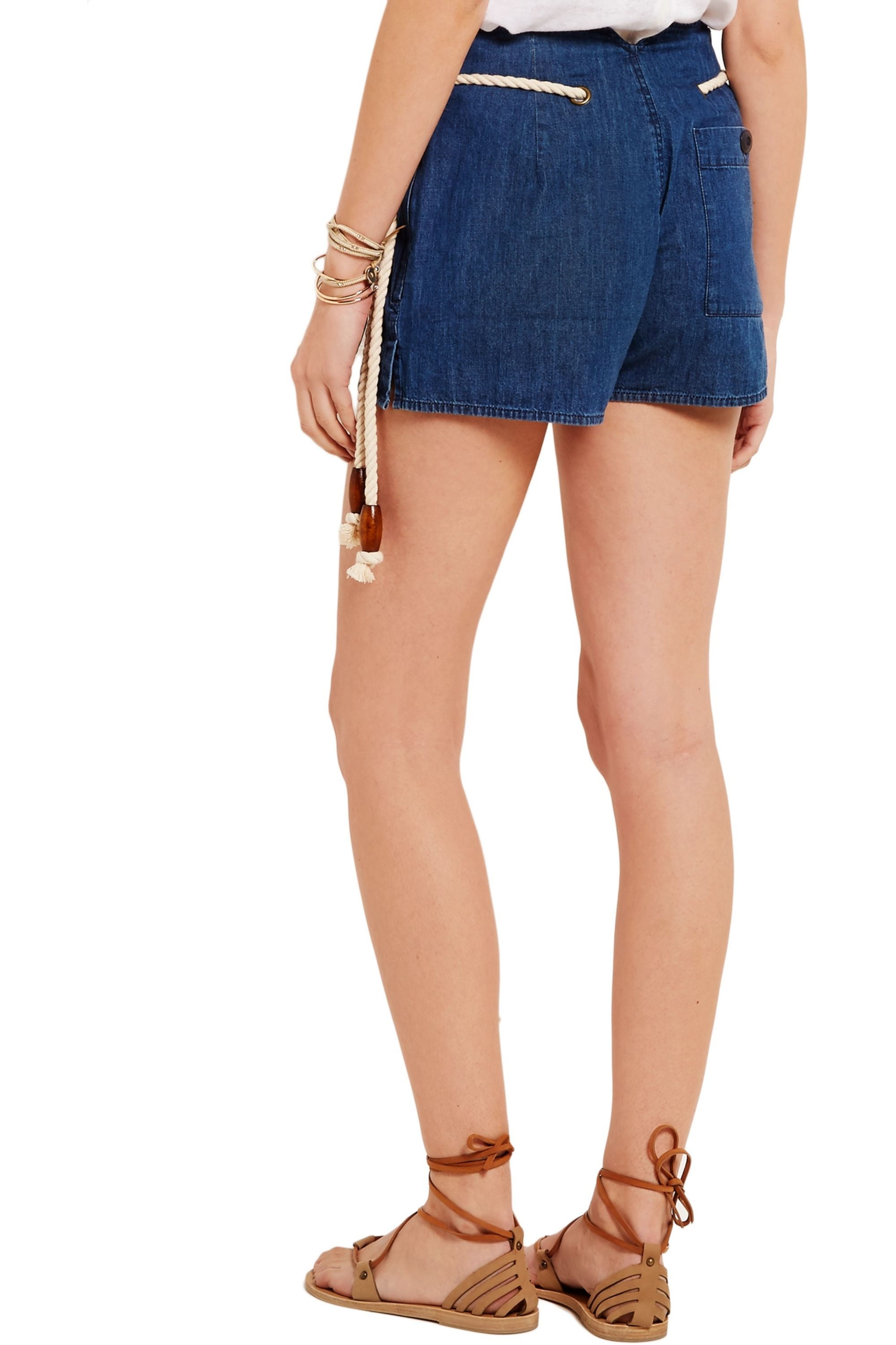 The Great Rope-detailed denim shorts