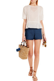 Rope-detailed denim shorts