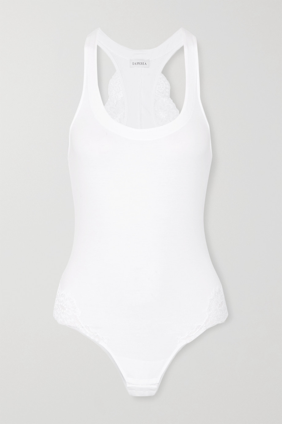 La Perla Souple Body aus Stretch-Jersey aus einer Baumwollmischung mit Spitzenbesatz