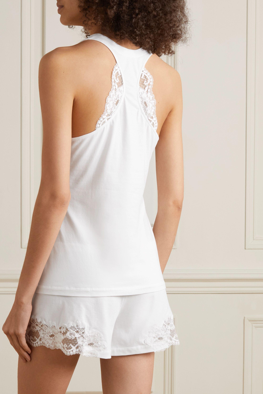 White Souple Lace-trimmed Stretch-cotton Jersey Pajama Top | La Perla