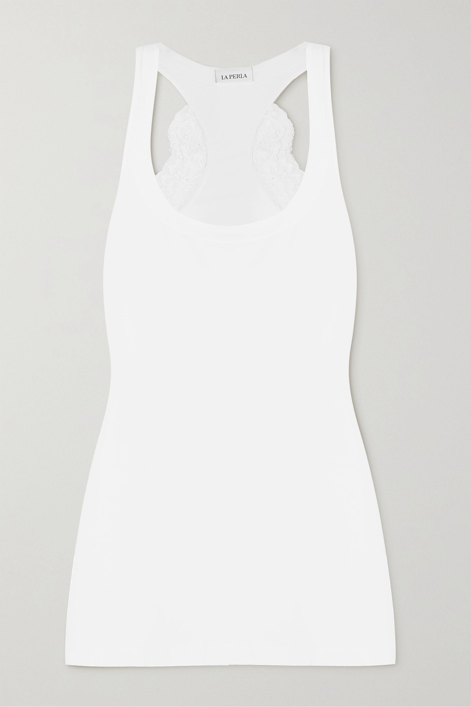 La Perla Haut de pyjama en jersey de coton stretch et dentelle Souple