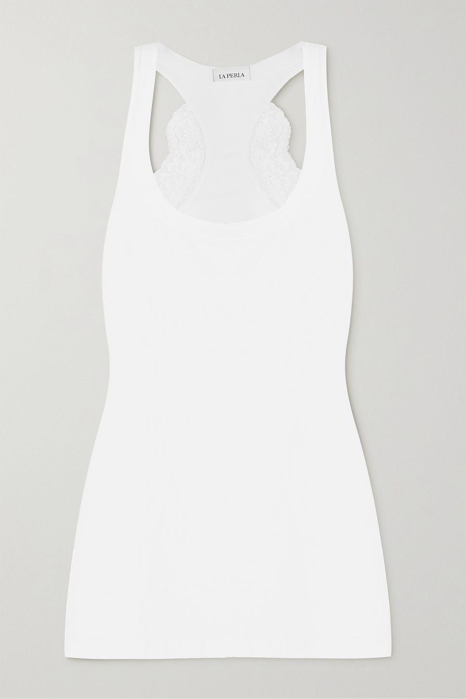 La Perla Souple Pyjama-Oberteil aus Jersey aus Stretch-Baumwolle mit Spitzenbesatz
