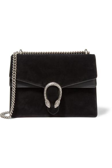 Gucci - Dionysus Large Leather-trimmed Suede Shoulder Bag - Black