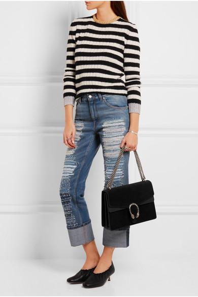 c53da23365bb Gucci | Dionysus large leather-trimmed suede shoulder bag | NET-A ...