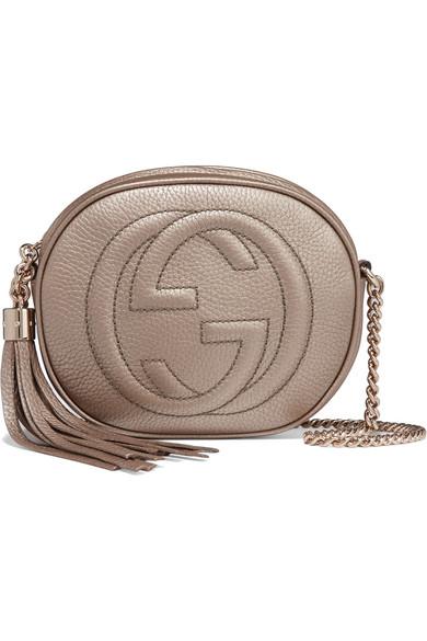 Gucci - Soho Mini Textured-leather Shoulder Bag - Gold