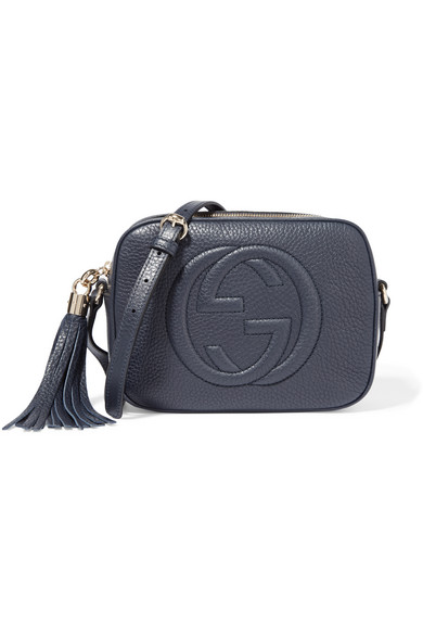 Gucci - Soho Disco Textured-leather Shoulder Bag - Navy