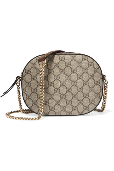 gucci female gucci linea a disco leathertrimmed coatedcanvas shoulder bag beige