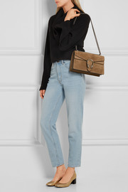 Dionysus medium leather-trimmed suede shoulder bag