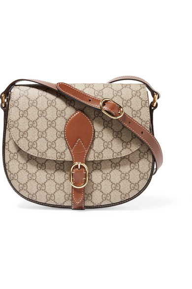 gucci female gucci linea a leathertrimmed coatedcanvas shoulder bag beige