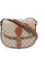 Gucci Linea A leather-trimmed coated-canvas shoulder bag