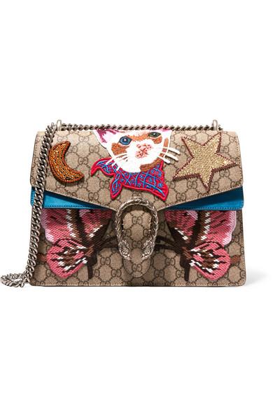 Gucci - Dionysus Large Appliquéd Coated Canvas And Suede Shoulder Bag - Beige