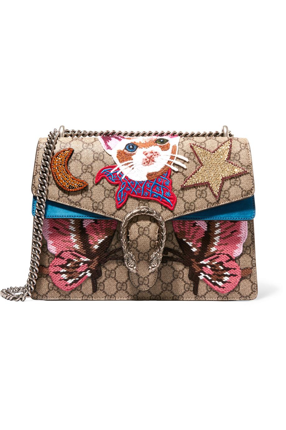 Gucci Dionysus Large Appliquéd Coated Canvas and Suede Shoulder Bag, Beige/Pink, Women's