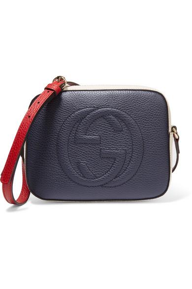 Gucci - Soho Disco Color-block Textured-leather Shoulder Bag - Navy