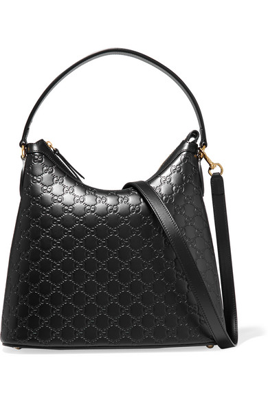 gucci female 188971 gucci linea a hobo embossed leather shoulder bag black