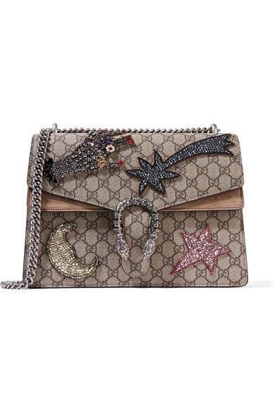Gucci - Dionysus Large Embellished Suede-trimmed Coated Canvas Shoulder Bag - Beige