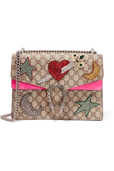 Gucci - Dionysus Large Embellished Coated-canvas And Suede Shoulder Bag - Beige