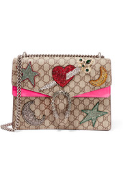 Dionysus large embellished coated-canvas and suede shoulder bag
