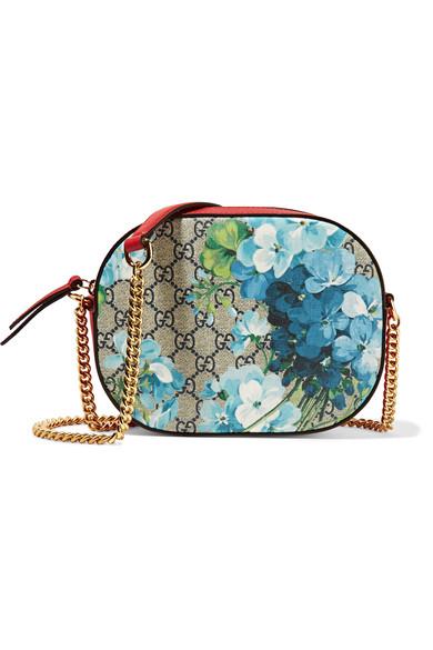 Gucci - Linea A Disco Leather-trimmed Coated-canvas Shoulder Bag - Blue