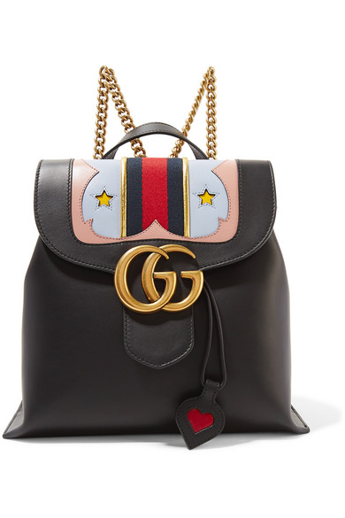 58046c1ffea Gucci. GG Marmont canvas-trimmed leather backpack