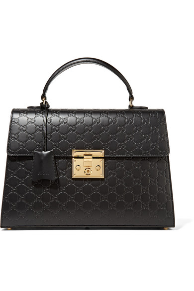 gucci female gucci padlock embossed leather tote black