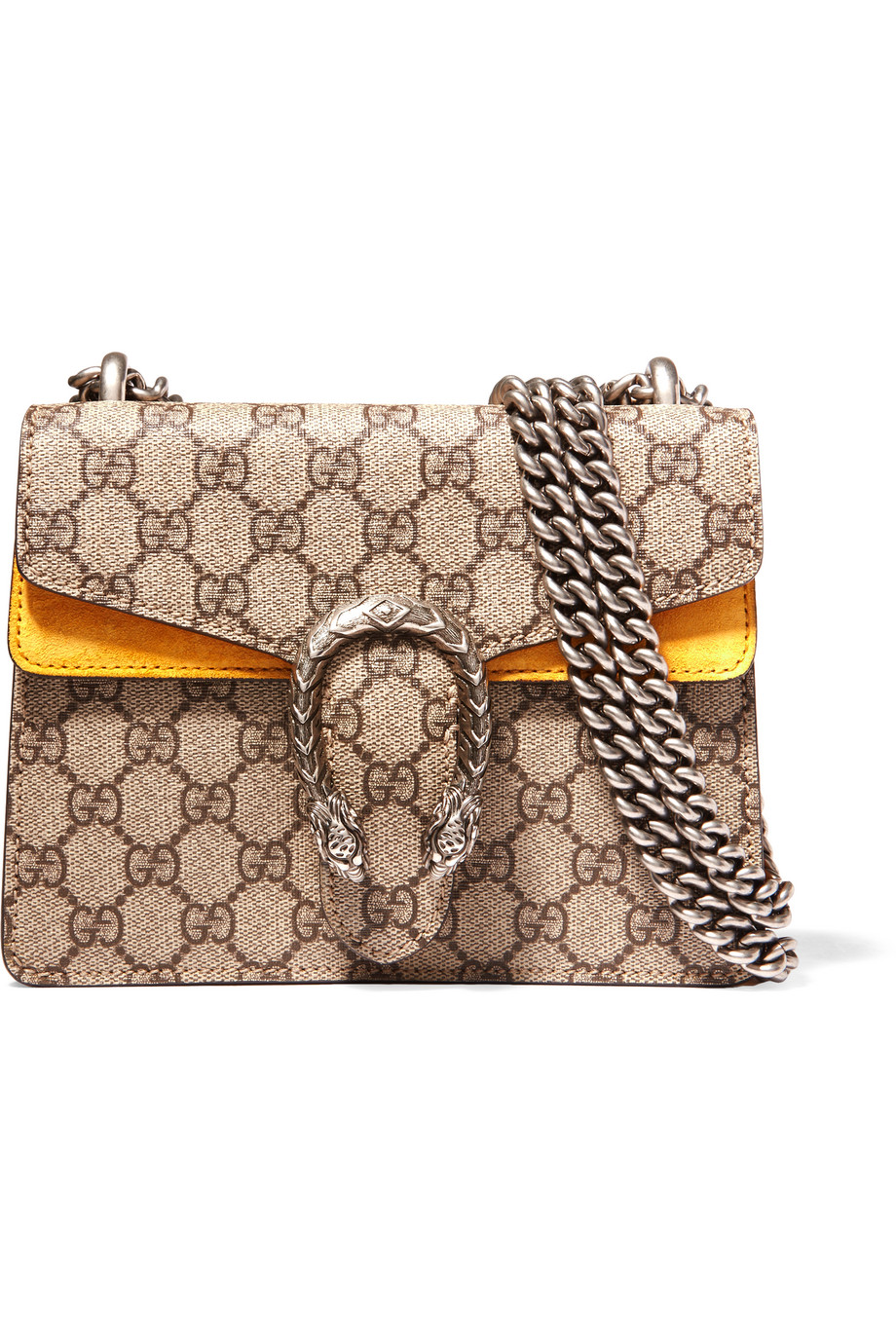 Gucci Dionysus Mini Coated Canvas and Suede Shoulder Bag, Beige, Women's
