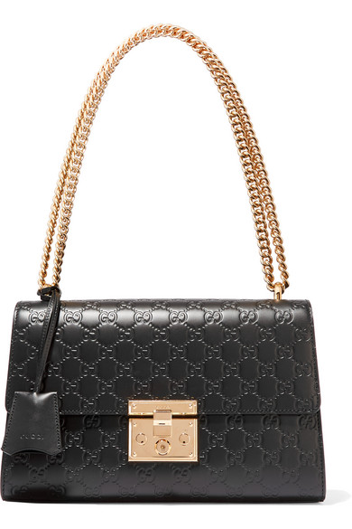 Gucci - Padlock Medium Embossed Leather Shoulder Bag - Black