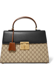 Gucci Padlock leather-trimmed coated canvas tote